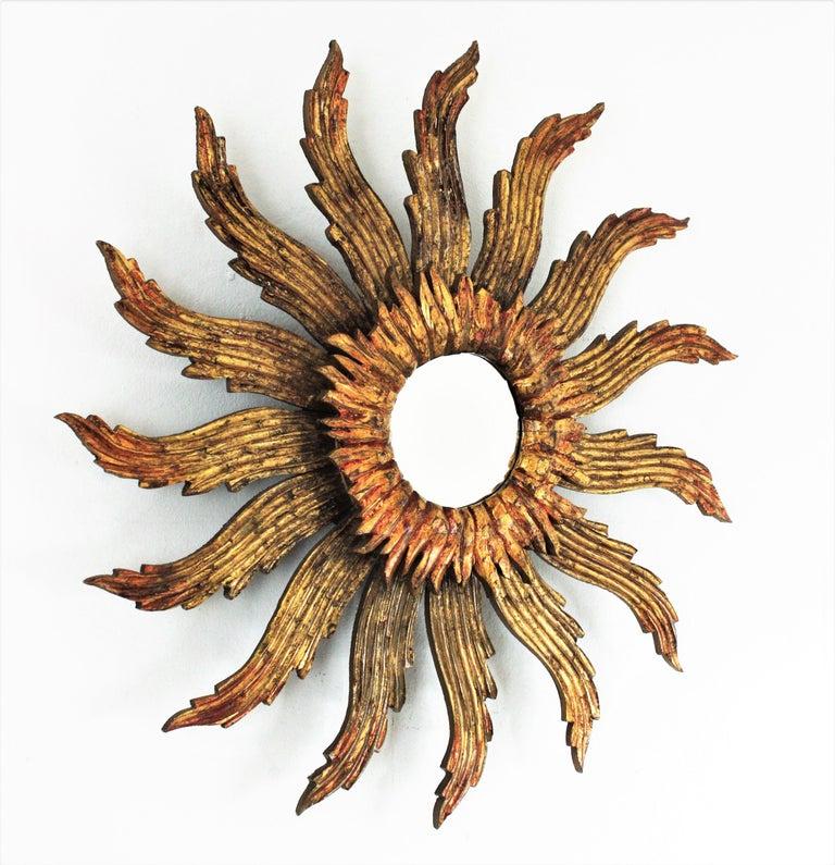 Baroque Sunburst Starburst Giltwood Mirror