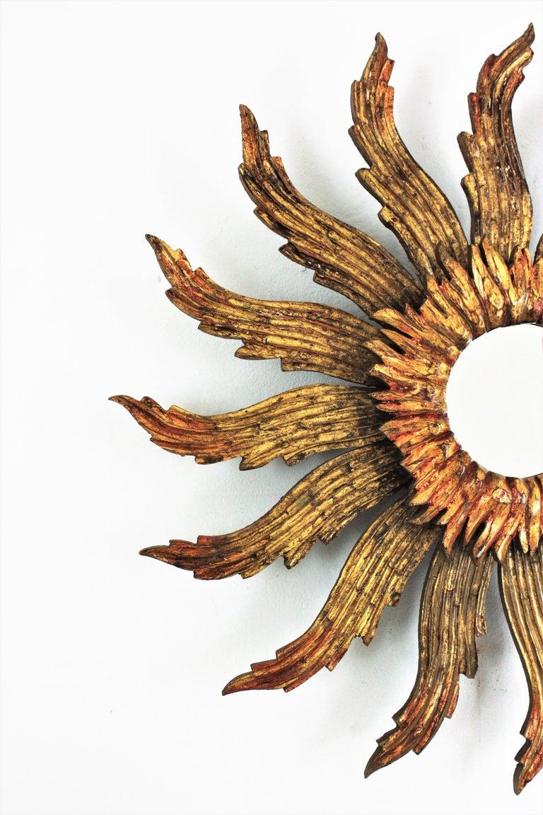 Carved Sunburst Starburst Giltwood Mirror