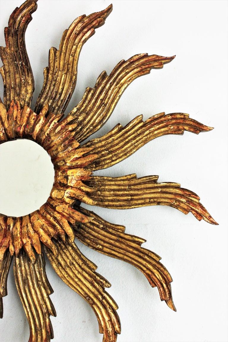 Sunburst Starburst Giltwood Mirror In Good Condition In Barcelona, ES