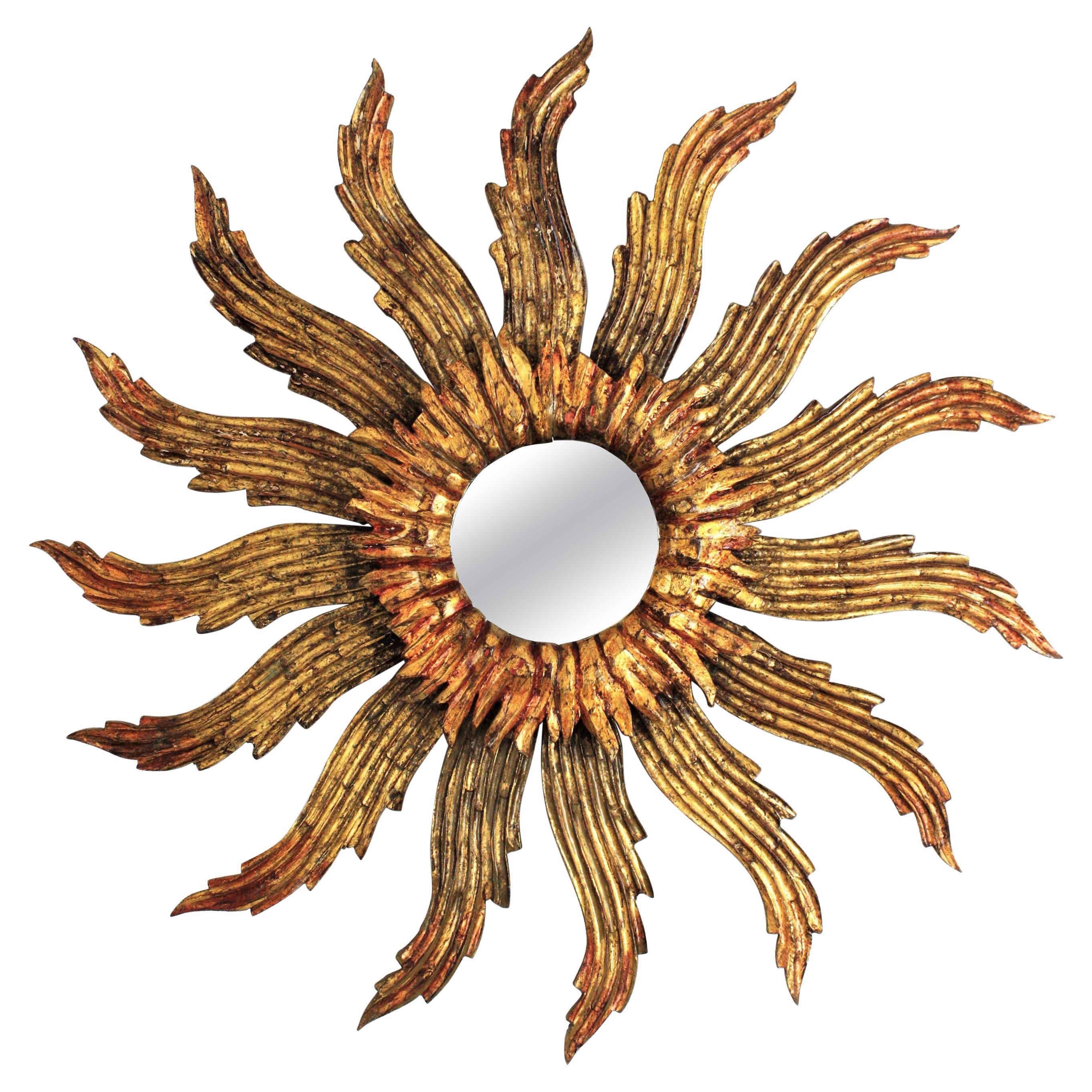 Sunburst Starburst Giltwood Mirror