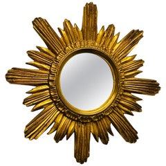 Sunburst Starburst Mirror Wood Stucco, French France, circa 1960s