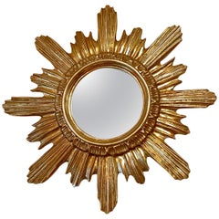 Sunburst Starburst Mirror Wood Stucco, French France, circa 1960s