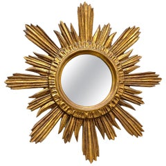 Sunburst Starburst Mirror Wood Stucco, French, France, circa 1960s