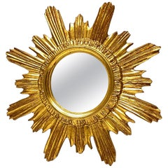 Sunburst Starburst Mirror Wood Stucco, French France, circa 1970s