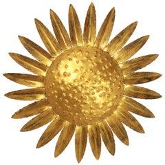 Sunburst Sunflower Ceiling Flush Mount or Wall Sconce in Gilt Wrought Iron