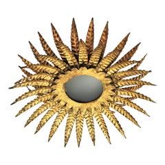 Sunburst Triple Layered Ceiling Light Fixture or Chandelier in Gilt Iron
