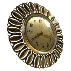 Sunburst Wall Clock in Brass by Richter, Germany, 1960s