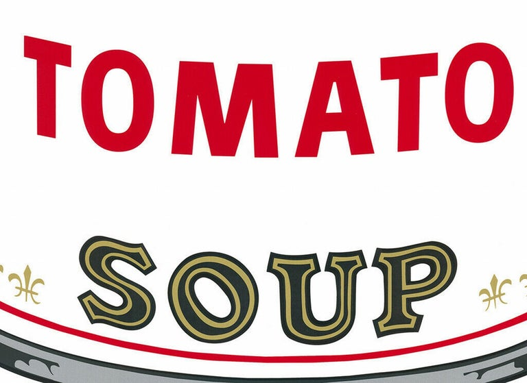$45 SHIPPING U.S. only (not $499!) - Simply request a quote during Checkout  Sunday B. Morning Campbell´s Tomato Soup (after Andy Warhol, Pop Art) Year: 2018 Color silkscreen Size: 31.6 × 18.5 on 34.7 × 22.8 inches  catalogue raisonné: vgl.: