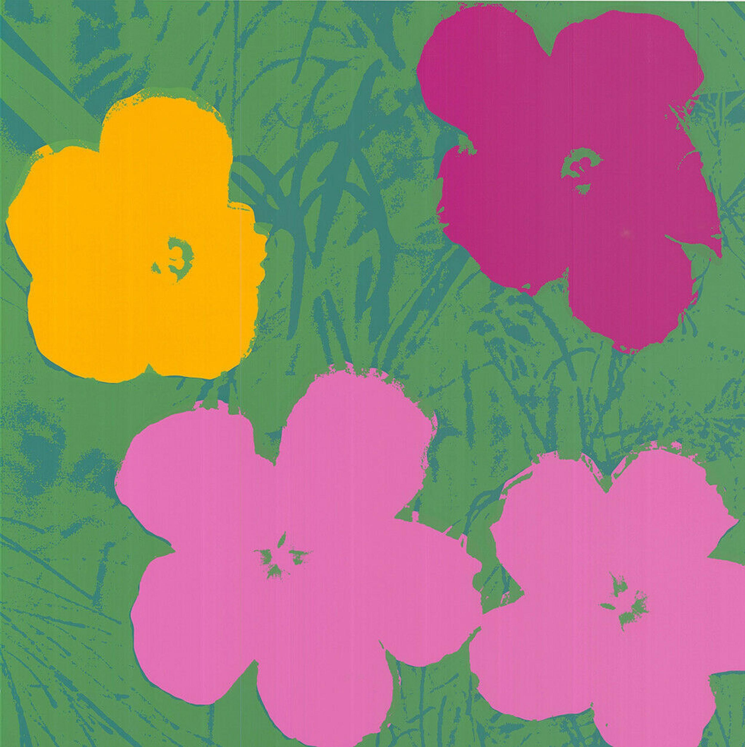 Flowers (after Andy Warhol  Yellow, Pink, Purple Hues - Pop Art)