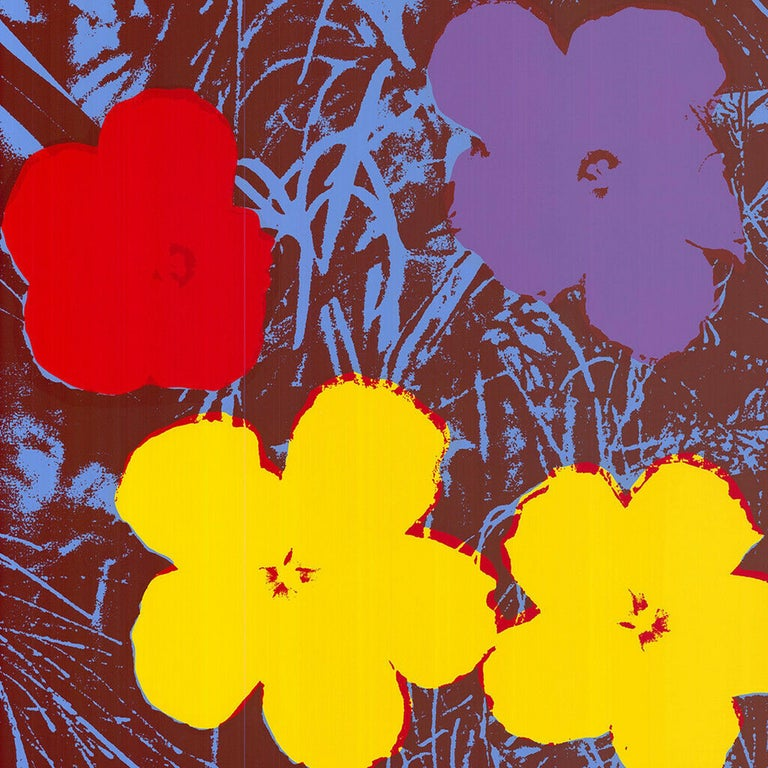 Sunday B Morning Figurative Print - Flowers (after Andy Warhol  Red, Yellow, Purple Hues - Pop Art)