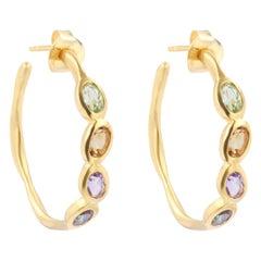 Sundazed Gemstone Hoop Earrings in 18k Brushed Gold