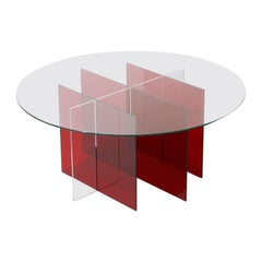 Sundial Coffee Table, Clear Glass / Ruby and Clear Acrylic Base