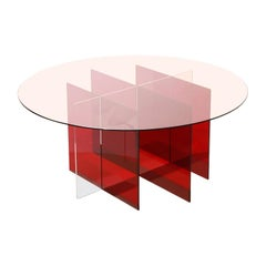 Sundial Coffee Table, Rose Glass or Ruby and Clear Acrylic Base