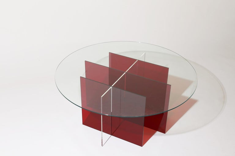 Modern Sundial Coffee Table, Smoked Glass / Ruby and Clear Acrylic Base For Sale