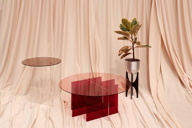 Sundial Coffee Table, Smoked Glass / Ruby and Clear Acrylic Base In New Condition For Sale In St. Augustine, FL