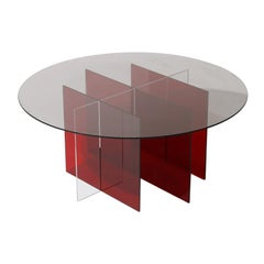 Sundial Coffee Table, Smoked Glass / Ruby and Clear Acrylic Base