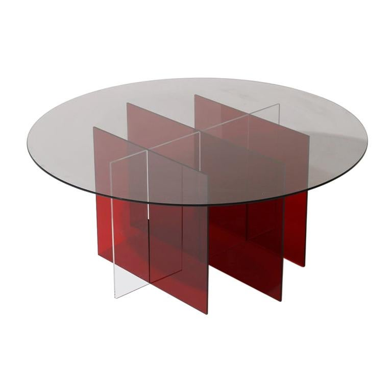 Sundial Coffee Table, Smoked Glass / Ruby and Clear Acrylic Base For Sale