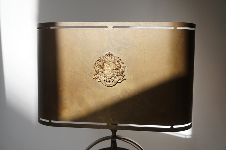 Sundial Table Lamp in Patinated Brass on Wooden Base For Sale 7