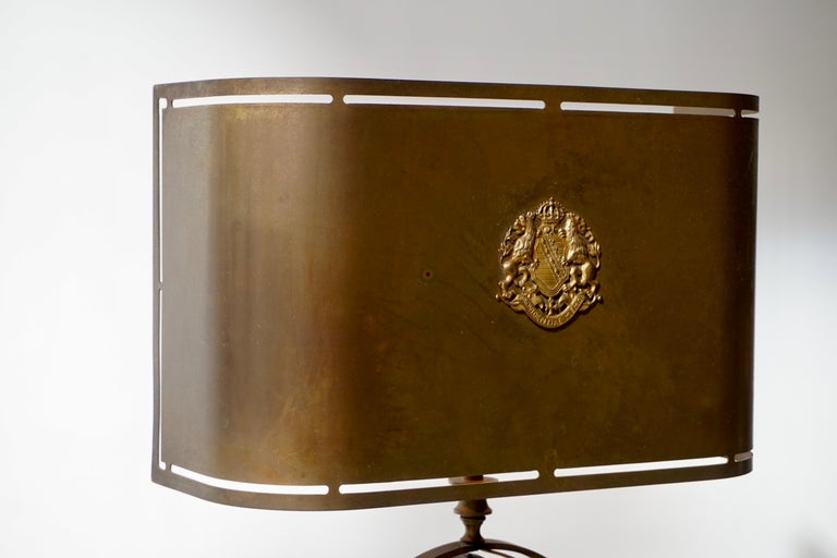 Sundial Table Lamp in Patinated Brass on Wooden Base For Sale 8