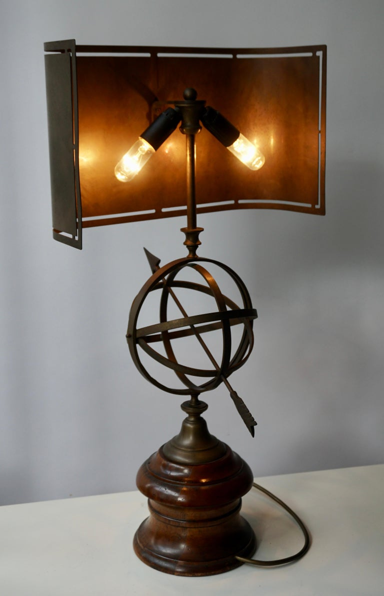Sundial Table Lamp in Patinated Brass on Wooden Base For Sale 10