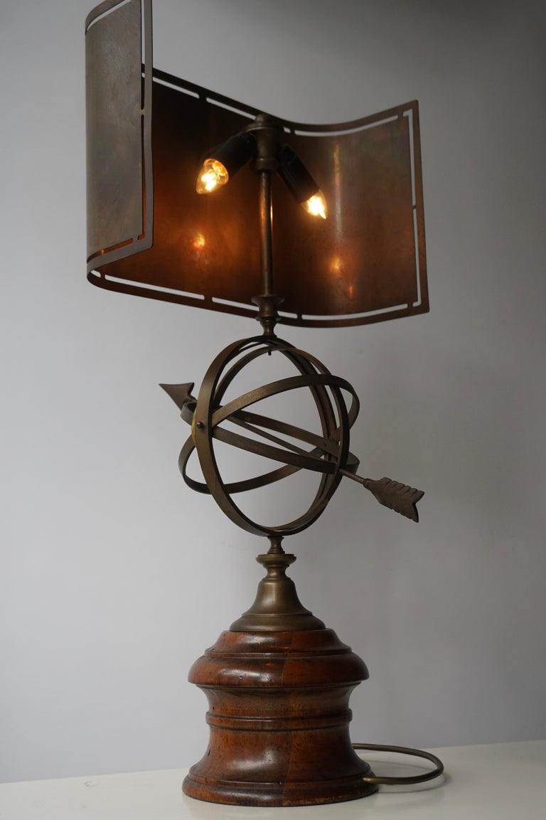 Sundial Table Lamp in Patinated Brass on Wooden Base For Sale 11