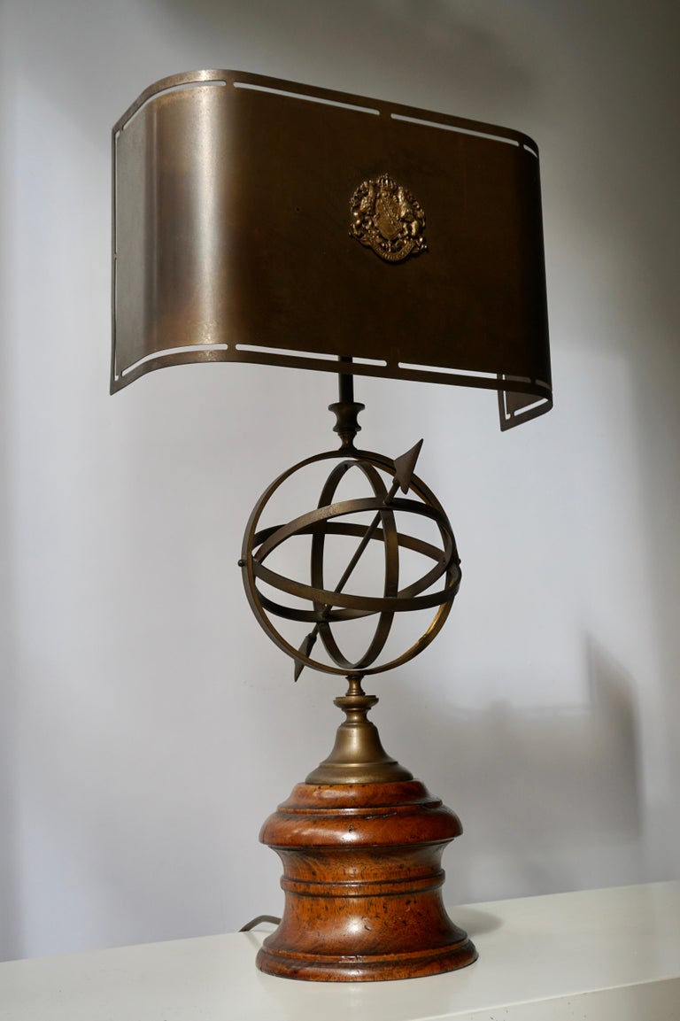 Belgian Sundial Table Lamp in Patinated Brass on Wooden Base For Sale