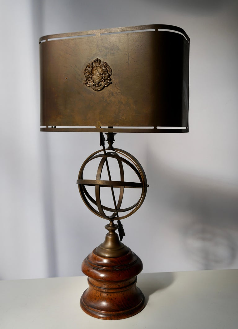 Copper Sundial Table Lamp in Patinated Brass on Wooden Base For Sale
