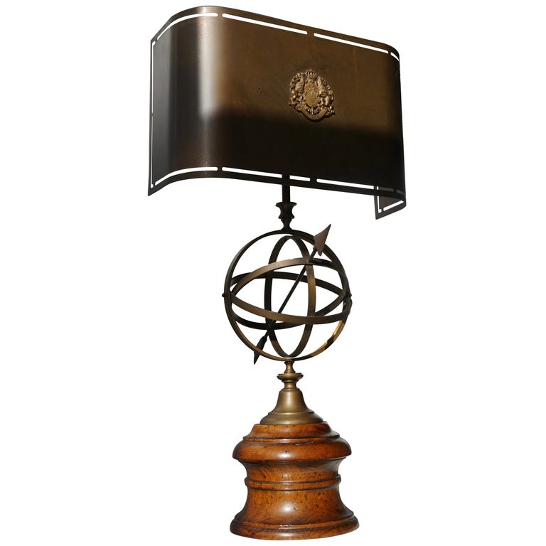 Sundial Table Lamp in Patinated Brass on Wooden Base For Sale