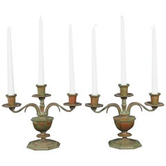 Sune Bäckström Pair of Swedish 1930s Art Deco Bronze Candelabras