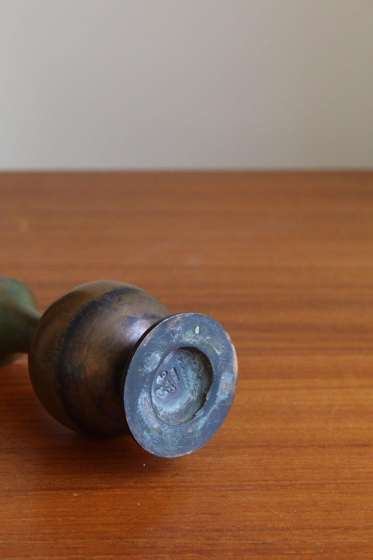Sune Bäckström, Small Vase, Patinated Bronze, Sweden, 1930s In Good Condition For Sale In West Palm Beach, FL