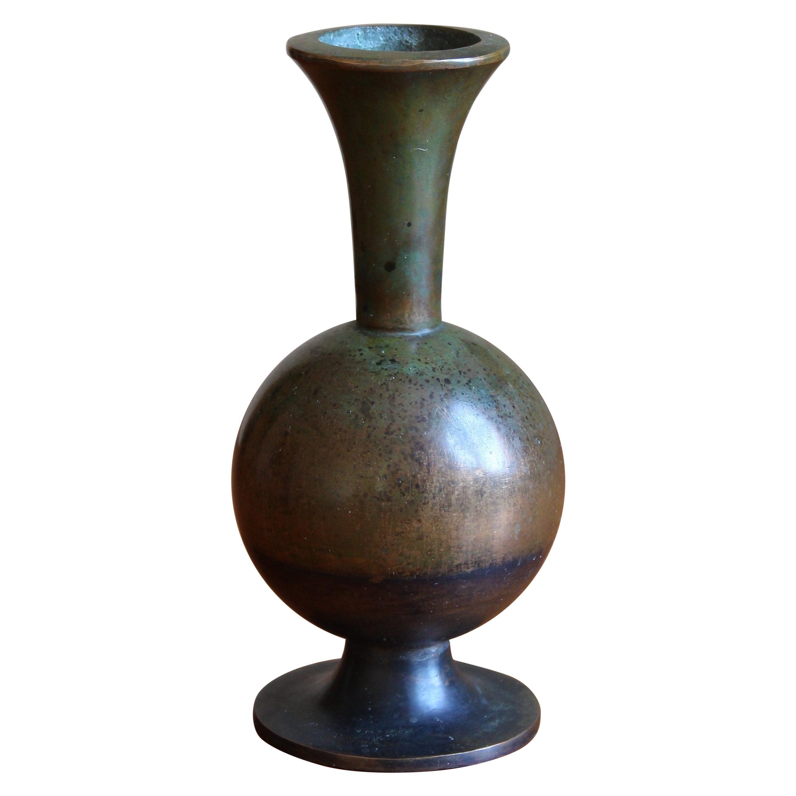 Sune Bäckström, Small Vase, Patinated Bronze, Sweden, 1930s