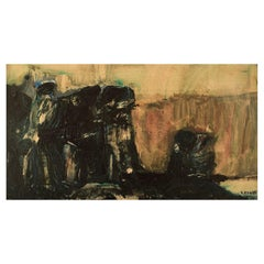Sune Fogde, Sweden, Oil on Canvas, Abstract Composition, Dated 1963