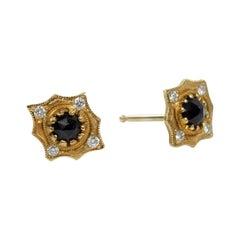 Suneera Black Rose Cut Diamond 18 Karat Stud Earrings