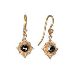 Suneera Black Rose Cut Diamond and 14 Karat Rose Gold Earrings