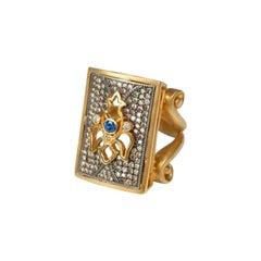 Suneera Blue Sapphire 18 Karat Gold and Blackened Silver Dogtag Ring