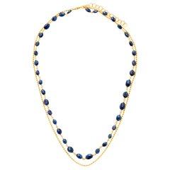 Suneera Blue Sapphire and 14 Karat Gold Layered Necklace