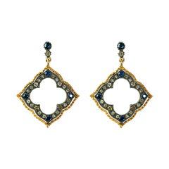 Suneera Blue Sapphire and Diamond Blackened Silver and 18 Karat Gold Earrings
