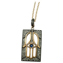 Suneera Blue Sapphire Hamsa Sterling Silver and 18 Karat Gold Dogtag Necklace