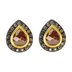 Suneera Brick Red Rose Cut Pear Diamond Blackened Silver & 18k Gold Stud Earring