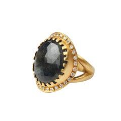 Suneera Chocolate Sapphire and Diamond 18 Karat Yellow Gold Ring
