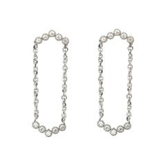 Suneera Diamond and 14 Karat White Gold Chain Drop Earrings