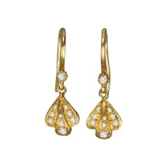 Suneera Diamond and 14 Karat Yellow Gold Flower Petal Earrings