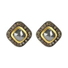 Suneera Grey Rose Cut Diamond with Blackened Silver and 18 Karat Gold Studs