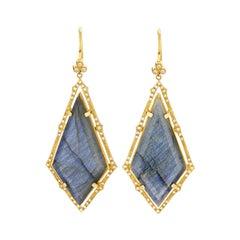 Suneera Labradorite and Diamond 18 Karat Earrings