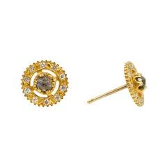 Suneera Labradorite and Diamond 18 Karat Stud Earrings