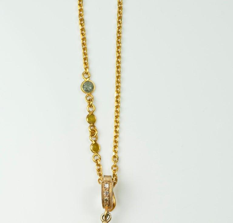 Artisan Suneera Large Aquamarine and Diamond 18 Karat Yellow Gold Pendant Necklace For Sale