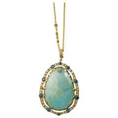 Suneera Large Aquamarine and Diamond 18 Karat Yellow Gold Pendant Necklace