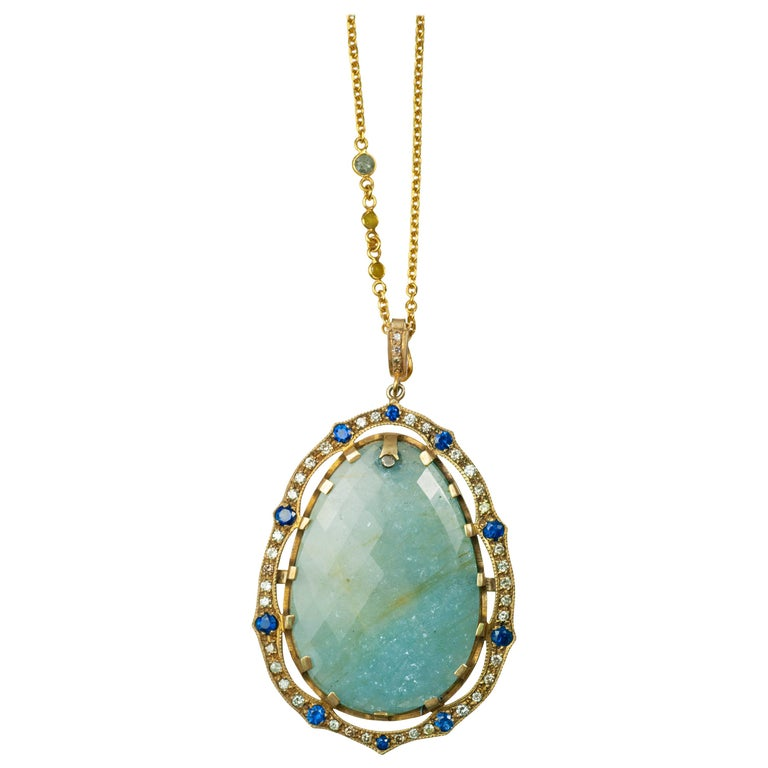 Suneera Large Aquamarine and Diamond 18 Karat Yellow Gold Pendant Necklace For Sale