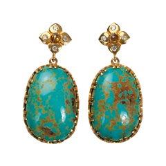 Lone Mountain Turquoise 18 Karat Yellow Gold Earrings SUNEERA