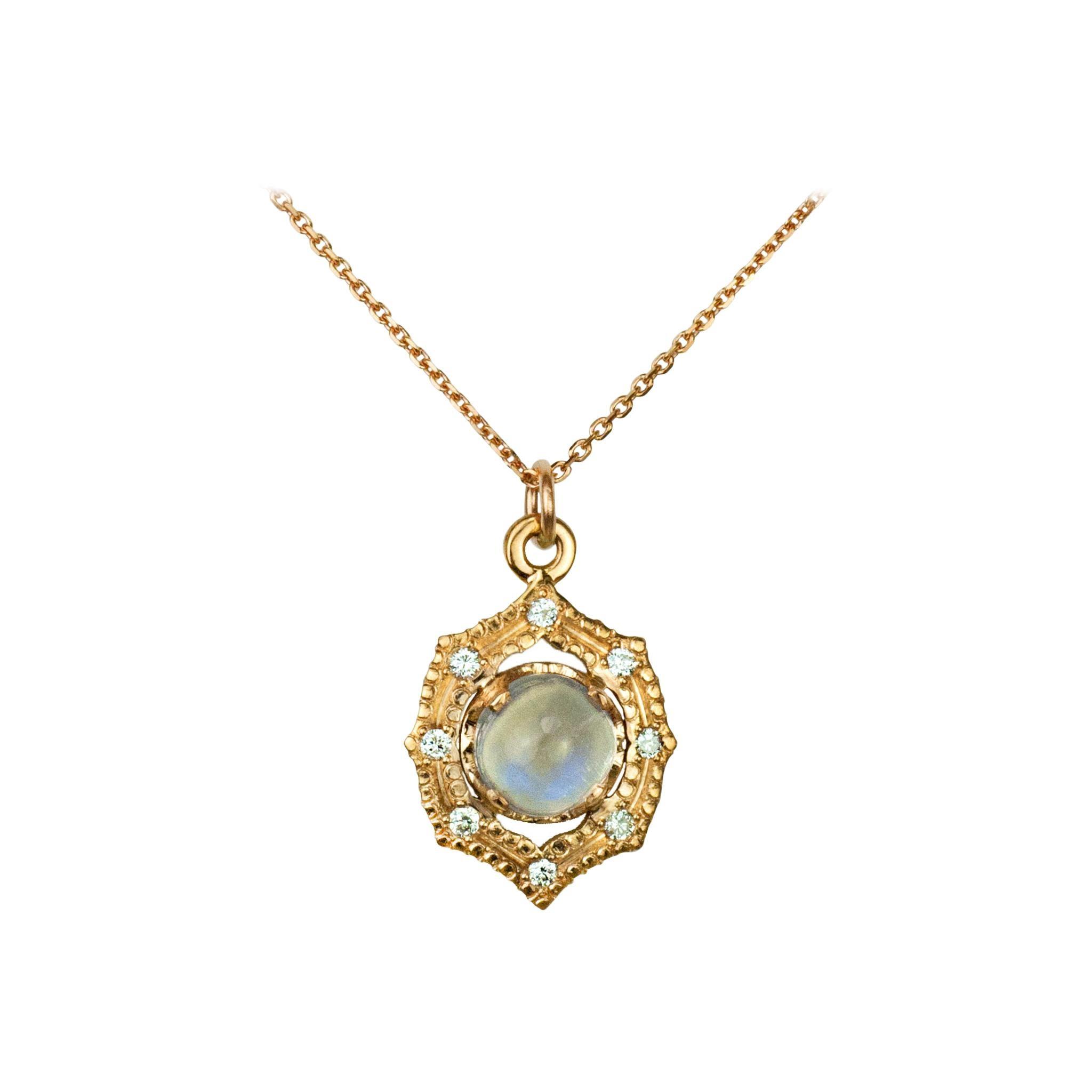 Suneera Moonstone & Diamond 18 Karat Yellow Gold Pendant Necklace